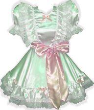 """""""Lanette"""" Custom Fit WHITE Satin Adult LG Baby Sissy Dress & Sash LEANNE"""