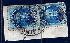 Scarce Circular NYC 'STEAMSHIP' Cancel on 5c BN Pair Tied to Piece...Ships Free!