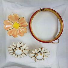 Vintage Sandor Signed Flower Brooch Red Enamel Bracelet And Flower Earrings Lot