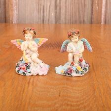 2 Angels With Wings & Flowers Figurines Statue Decor