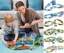 Race Flexible Track DIY Racing Game Playset Light Up Car Toy Kids Dino Police