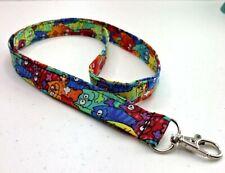 "Colorful Tie Dye Rainbow Cats Cotton Fabric Lanyard ID Badge Key Holder 19""x3/4"""