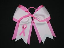 "NEW ""BREAST CANCER Ribbon"" Cheer Hair Bow Pony Tail 3 Inch Girls Cheerleading"