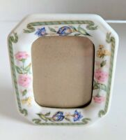 Vintage Porcelain Small Miniature Photo Picture Frame Ribbon & Flower Borders