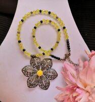 "Flower pendant BEADED NECKLACE 16"" GLASS yellow bronze womens art deco"