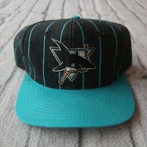 Vintage 90s San Jose Sharks Pinstripe Snapback Hat Cap