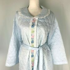 Vintage 70s Blue Quilted Housecoat XL Embroidered Lace Robe