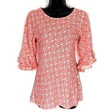 Escapada XS tunic top blouse orange geometric 3/4 ruffle sleeve rayon