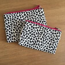 Cheetah Leopard Print White And Pink Make Up Bags Cosmetic Bag Purse