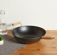 Wok Frying Pan Non Stick Chinese Food Cooking Fry Stir Sear Carbon Steel Deep