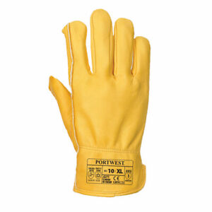 Portwest A271 Insulatex Lined Leather Warm Winter Driver Work Thermal Gloves TAN