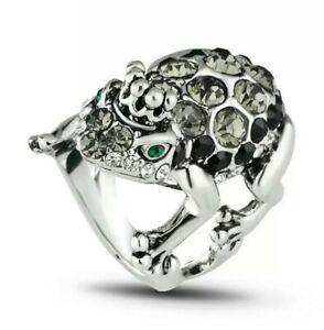 Vintage King Frog Rhinestone Ring