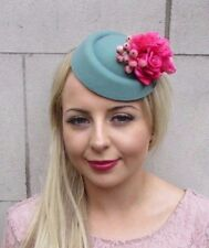Teal Green Hot Pink Rose Flower Pillbox Hat Fascinator Hair Clip Races 40s 4189
