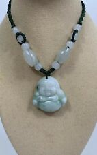 """Handcrafted knot work cord adjustable jade carved """"laughing buddha"""" pendant"""