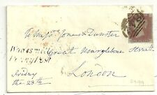 * 1848 4 MARGIN 1d =842= NUMERAL WARE - WADESMILL PENNY POST COVER HERTFORDSHIRE