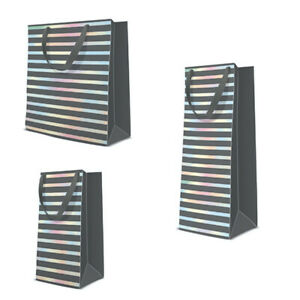 Premium Grey Hologram Stripes Gift Bag Birthday Wedding Present Bag