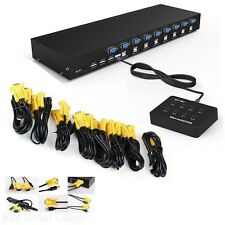 Rijer 8 Port Manual Smart VGA USB KVM Switch PC Computer Selector 1 KM Combo