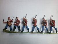 Konvolut 6 alte Elastolin Kunststoff Soldaten Marschzug Engländer zu 7.5cm