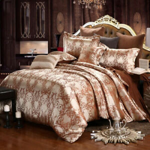 2021 Top Hot Luxury Silk Satin Jacquard Duvet Cover Bedding Set Home