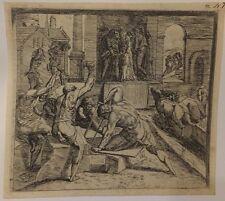 Salomon construisant le Temple, eau-forte d'Orazio Borgianni après Raphael, 1615
