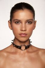 Black Faux Metal Spike Leather Punk Rock Choker Costume Accessory Unisex Cosplay