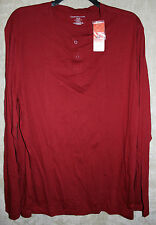 NEW Croft & Barrow long sleeve Night shirt Henley style Red XXLT very soft mens