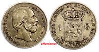 Netherlands William III Silver 1851 1 Gulden Better Date Toned 28mm KM# 93