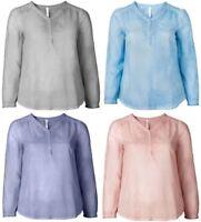Sheego Damen Tunika Shirt Top Bluse Oberteil Sommer Blau Rosa Grau Lila NEU