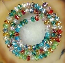 12 DY Hot DIY Glass Faceted Round Crystal Loose Jewelry Beads 6MM 49pc duo color