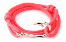 Nautical Fish Hook Bracelet Pink Men Women Fashion Vintage Jewelry Adjustabl