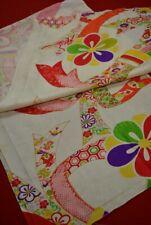 """Vintage Japanese Kimono Fabric Silk Antique Boro Kusakizome Dyed 50""""/XB62/55"""