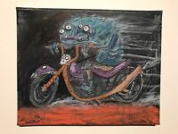 GUS FINK art ORIGINAL painting outsider lowbrow Comix 60s MOTORCYCLE DEMON BOY