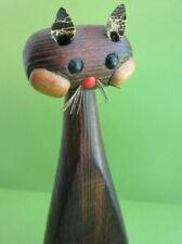 Vintage Mid-Century Modern Wooden Cat Figurine Toothpick Match Stick Holder