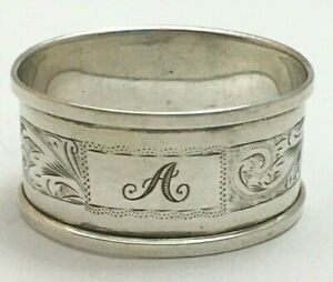 Monogram A Vintage Sterling Silver Napkin Ring 1972
