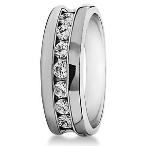 Mens Anniversary Band With 3.50Ct White Multi Round Moissanite In 935 Silver