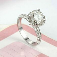 Ring in Solid 14k White Gold Certified 2.75Ct Round White Diamond Engagement