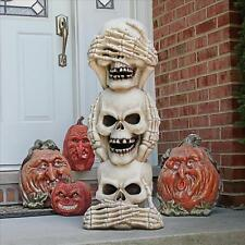 Halloween See No Hear No Speak No Skeleton Totem Giant Statue Haunted House Prop