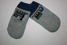 New Gymboree Boys Cozy Knit Gray Train Mittens Size 12-24m Arctic Explorer