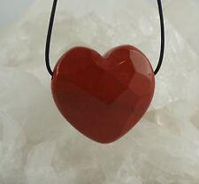 Rojo Jaspe Colgante Corazón FACETADA perforadas aprox. 29 x 30mm