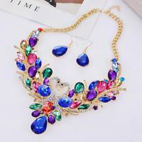 Women Rhinestone Crystal Colorful Swan Choker Bib Statement Gold Chain Necklace