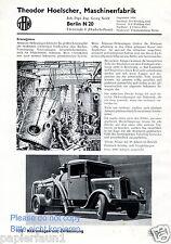 Maschinenfabrik Hoelscher Berlin Reklame von 1935 Abwasser Klärwerk Kläranlage