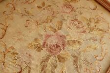 "63"" Huge full set Vintage Tramme Needlepoint Canvas For Chair Roses & Scroll"