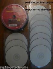 10 dvd+r double couche DL x8  AONE face blanche + 10 pochettes plastique