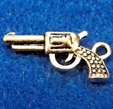 50Pcs. Wholesale Tibetan Silver 3D Gun Pistol Charms Pendant Earring Drops Q0140