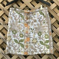 Tommy Bahama women Sz 2 ivory green floral mini skirt 100% Linen flat front