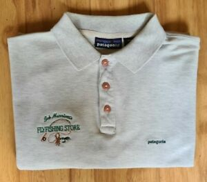 Vintage Patagonia Mens Polo Shirt Short Sleeve Cotton Size Large Fly Fishing