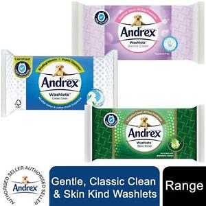 24x Andrex Washlets Gentle Clean, Skin Kind or Classic Clean Toilet Tissue Wipes
