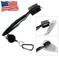 Golf Club Brush Cleaning Tool 2 Sided Wires Nylon Retractable Zip Line Black
