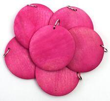 45mm wood disc pendants - hot pink (25 count)
