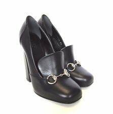 L-3872175 New Gucci Scar Pelle Black Horsebit Heels Shoes Size US-6 Marked-36